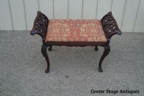 60849 Solid Mahogany Antique Carved Vanity Bench Ottoman Stool