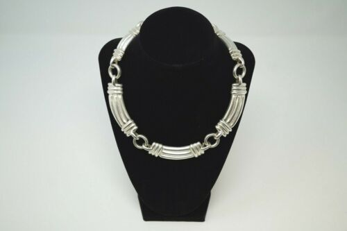 "BAYANIHAN MODERNIST NECKLACE 925 HEAVY Sterling Silver 129g 18"" CHOKER"