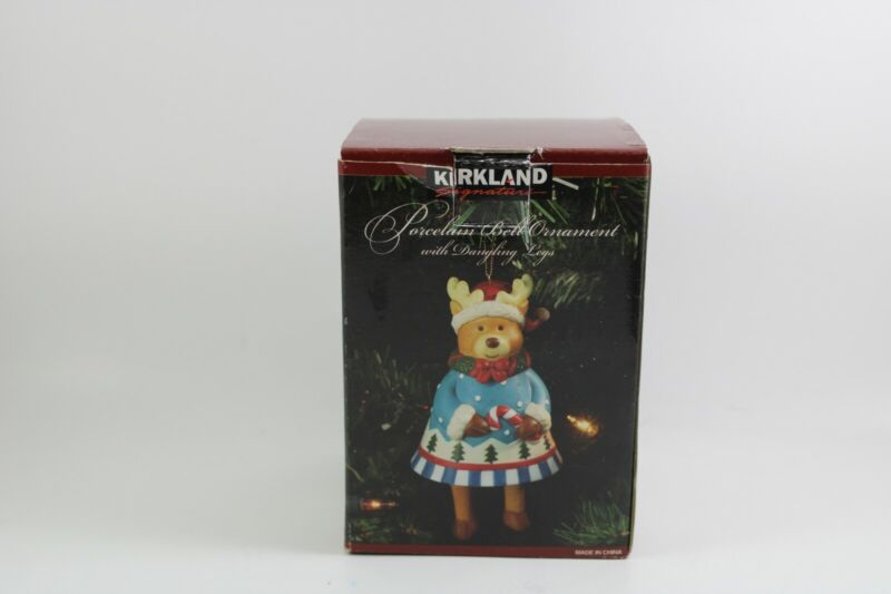 Kirkland Signature Raindeer Bell Porcelain Ornament With Dangling Legs
