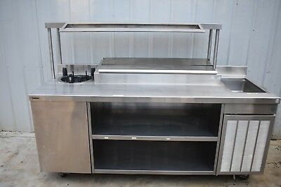Delfield Custom 82 Prep Table W Refrigerated Condiment Rail Hot Well