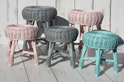 Wicker Tisch Stühle (WICKER STOOLS for Children - stylish room - HAND-MADE /2 SIZES )