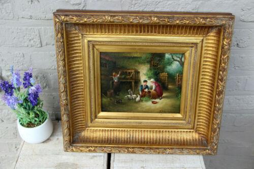 Antique oil panel painting farm scene feeding rabbits kids signed