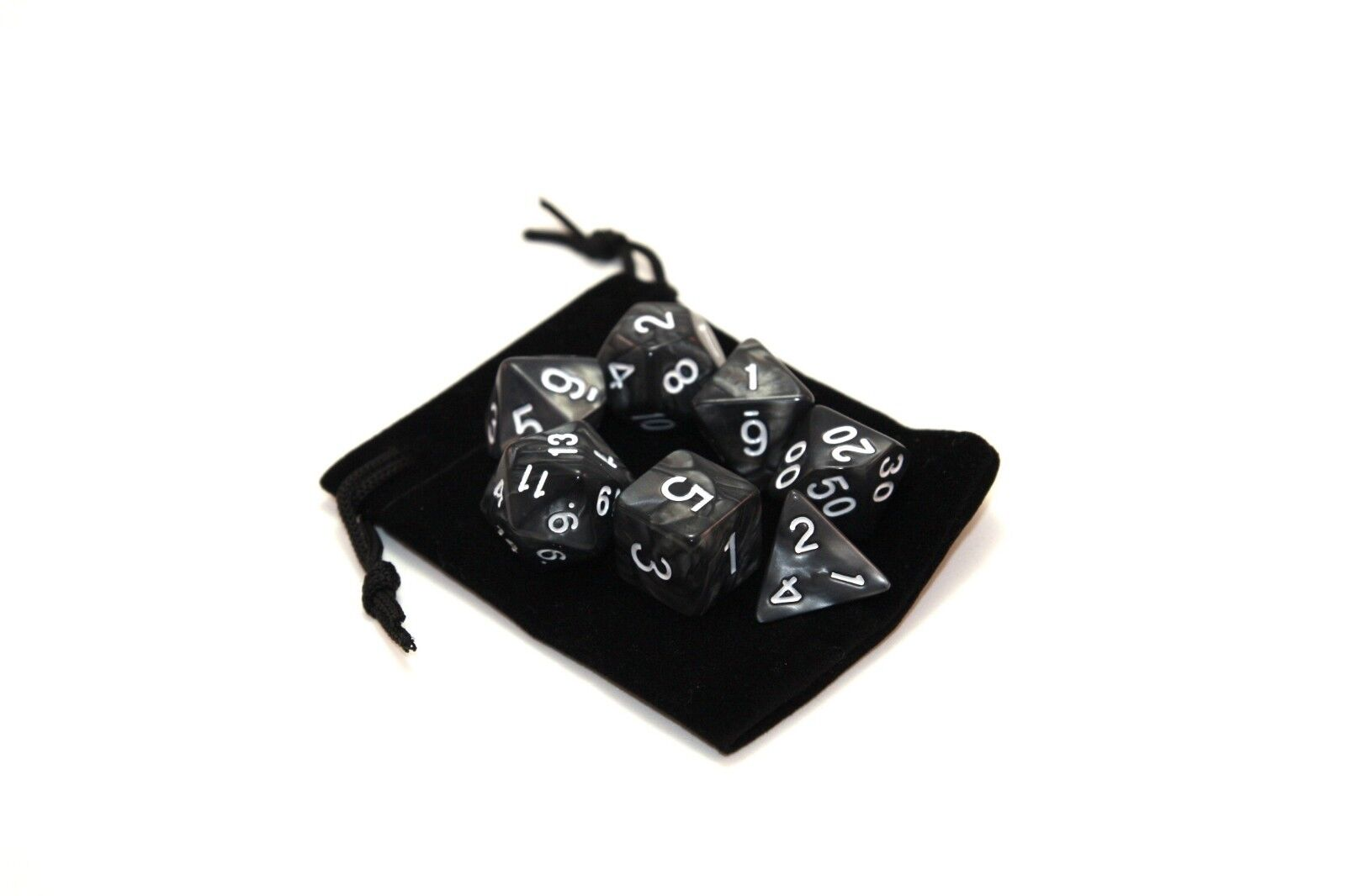 D4-D20 for TRPG 7 Polyhedral Dice Set with Matching Velveteen Bag D/&D DnD