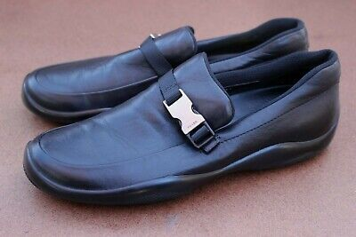 Vintage Mens Prada Black Leather Logo Metal Buckle Driving Shoes Loafers UK9 10