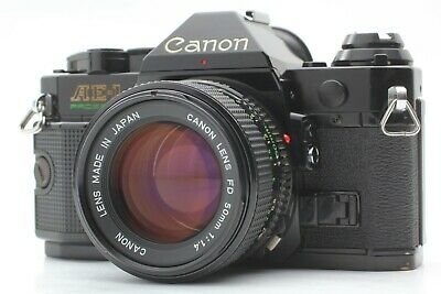 [Exc+5] Canon AE-1 Program 35mm Black Camera w/ New FD 50mm f1.4 From JAPAN 163