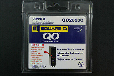 Square D Qo 2020c 2020 A Twin Circuit Breaker Wred Visi-trip Newsealed