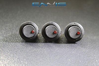 3 Pcs Round On Off Rocker Switch Mini Toggle Red Led 34 Mount Hole Ec-1213rd