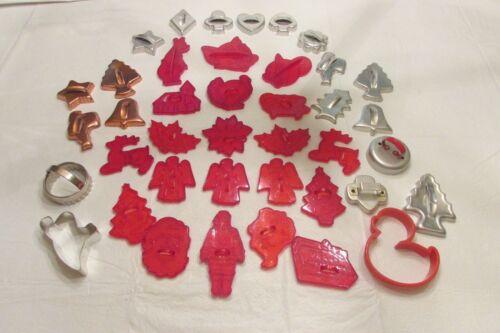 Nice Lot Vintage Red Plastic & Metal Cookie Cutters Christmas Tom & Jerry Turkey