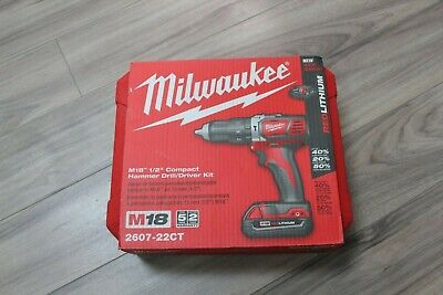 Milwaukee 2607-22 M18 18v Lithium-ion Cordless 12-inch Hammer Drill Driver Kit