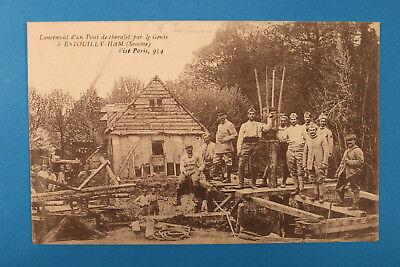 Somme 80 AK CPA Estouilly Ham 1918 Lancement d un Pont de chevalet par le Genie