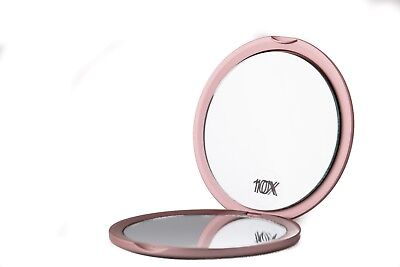 Tubli~Trends Travel Dual Compact Mirror ~ 10x Magnifying ~ Rose Gold