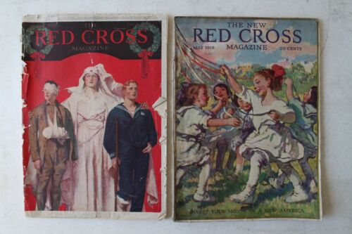 1919 RED CROSS MAGAZINES COLLECTION OF 2 GREAT COLOR ADVERTISING & HISTORY