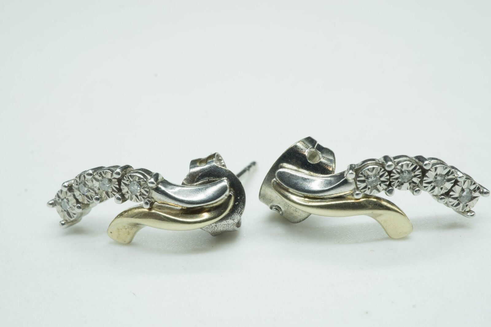 Elegant / Diamonds / 10K Sterling / Pierced Stud Earrings / Size 5/8 1.5g  - $69.99