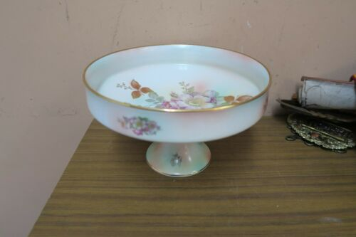 """BAVARIA SCHUMANN ARZBERG GERMANY FLORAL PORCELAIN COMPOTE FOOTED BOWL DISH 10"""""""