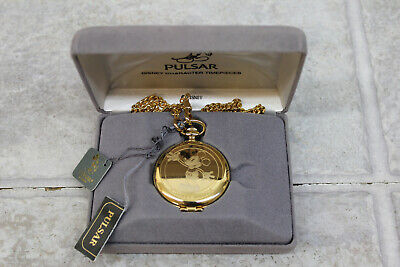 Disney Pulsar Mickey Mouse Gold Pocket Watch, in original box - Authentic, Rare!