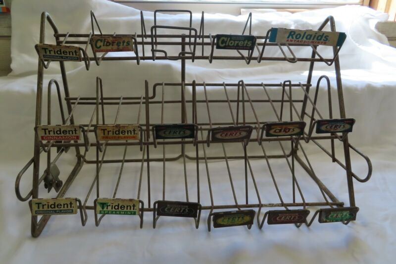 17 Slot 3 Tier Vntg Store Chewing Gum Candy Counter Display Rack