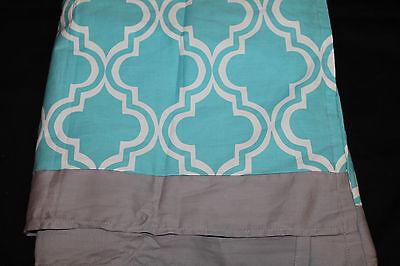 Geometric Crib Skirt (Lambs & Ivy Crib Skirt Turquoise Gray White geometric design nwop #188 )