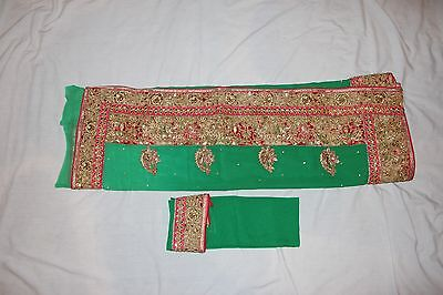Bollywood Indian Party Wear Green Saree With Heavy Work Designer Ethnic