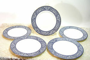 Minton-Infanta-Bone-China-Luncheon-Plate-8-034-Set-of-Five