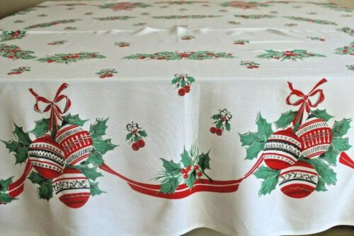"Vintage MCM Christmas Tablecloth, 48"" x 57"""
