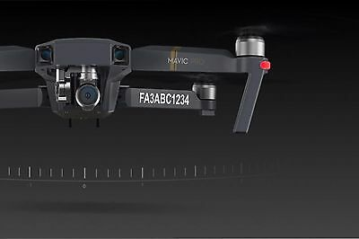 4X Drone Registration Enumerate Decals  DJI MAVIC PRO  FAA UAS Compliant