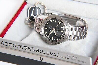 Very Clean Antique 1969 Bulova Accutron Astronaut Black Dial 214 Wristwatch