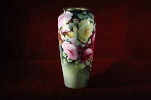 Philip-Rosenthal-Vase-Floral-Signed-M-Ralins-Antique-9-034-Tall-RARE