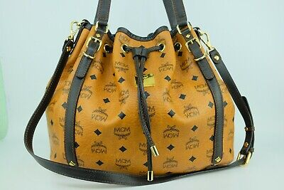 100% Authentic MCM Cognac Visetos 2way Drawstring Shoulder and Crossbody Bag