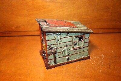Black Americana Cast Iron Cabin Mechanical Bank J & E Stevens c 1883 Nice !