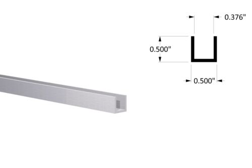 "Aluminum Channel:(1/2"" W x 1/2"" H x 1/16"" Wall) Fits 3/8"" Clear Anodized 6 Foot"