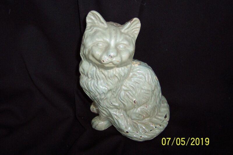 """Antique UNMARKED """"Hubley"""" Cast Iron Sitting PERSIAN CAT Doorstop Door Stop"""