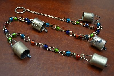 5 PCS RUSTY IRON METAL BELLS WITH GLASS BEADED STRAND HANGER #F-915A