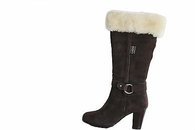 Australian Genuine Sheepskin Lady Fashion High Heel UGG Boots Chocolate Colour