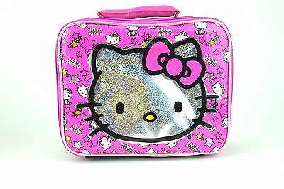 SANRIO HELLO KITTY Insulated Pink & Black School Tote Cooler Snack Lunch Bag Box ()