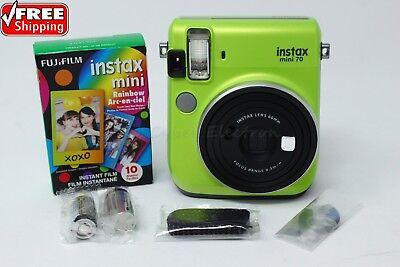 Fujifilm Instax Mini 70 Green Instant Film Camera Bundle Free 10 Rainbow Films