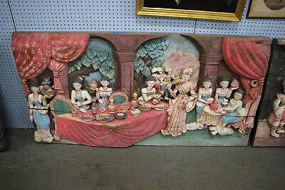 HUGE Antique Tibetan Asian Hindu Buddhist Wood Carving-#3-Ceremonial Gods-133LBS