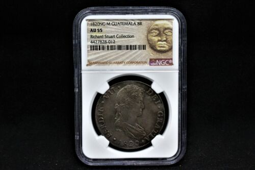 1820 NG M Guatemala 8 Reales - NGC AU55 - Richard Stuart Collection