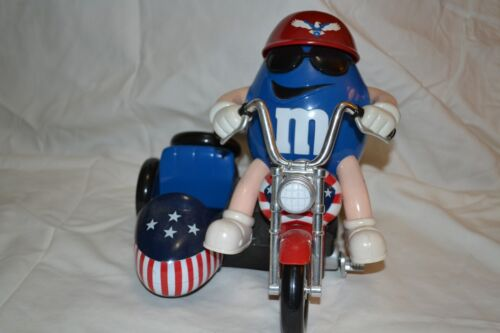 M&M blue Motorcycle w/ sidecar- patriotic- red white & blue candy dispenser