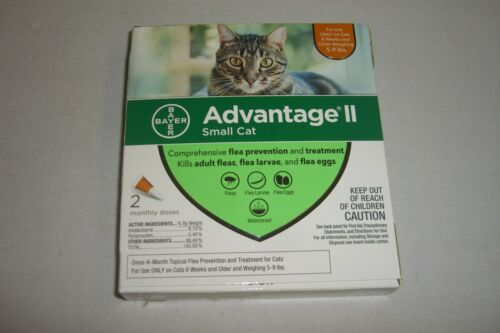 BAYER ADVANTAGE II FOR SMALL CATS 5-9 LBS. 2 DOSES FREE SHIPPING