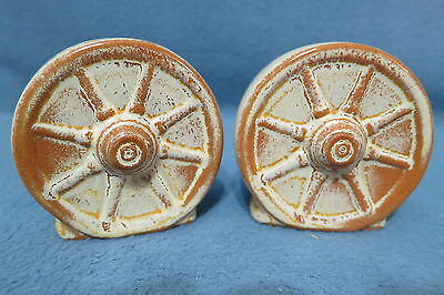 Vintage Frankoma Pottery Desert Gold Wagon Wheel Salt & Pepper Shaker Set 94H