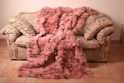 Light Pink Fox fur blanket throw bed sofa comfort softness best gift