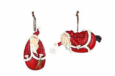 Holiday Metal Tin Santa Folk Decoration Christmas Hanging Ornaments Set of 2