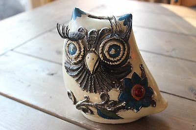 Vintage Ceramic One of a Kind Owl Piggy Bank From 1968 Crazy Eye Lashes - Crazy Lashes