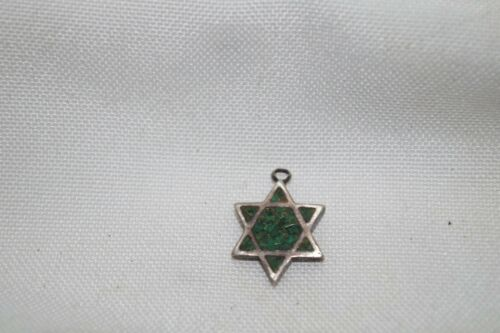 Signed Rare Vintage Sterling Silver Charm Star Of David Green Jade Stones