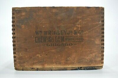 Antique Wood W.M. Wrigley Jr. & Co Gum Crate Dovetailed Box Advertising Chicago