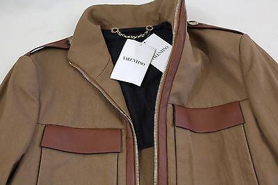 Valentino Military Style Leather Trim Jacket Size 38 RETAIL $ 1,850