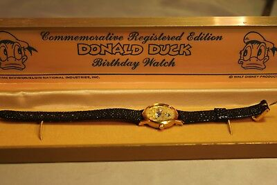 VINTAGE OLD NEW STOCK DONALD DUCK COMMEMORATIVE BIRTHDAY WATCH