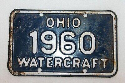 VINTAGE 1960 Ohio WATERCRAFT License Plate