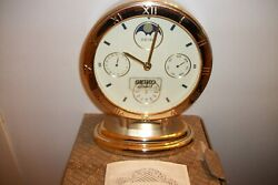 SEIKO  MANTEL CLOCK MOON PHASE MONTH DATE AND DAY NEW OLD STOCK W/BOX JAPAN