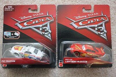 2 DISNEY CARS 3 - RUST-EZE LIGHTNING McQUEEN & PAT TRAXSON w/BONUS CARD & POSTER](Lightning Mcqueen Cars 2)
